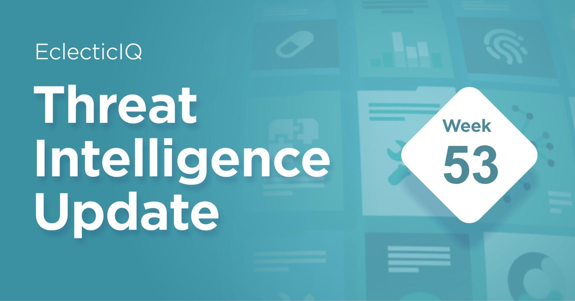 Week 53 Threat Intelligence Update Blog
